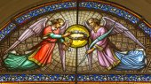 BRUSSELS, BELGIUM - JUNE 15, 2014: The Angels from windowpane in St. Jacques Church at The Coudenberg. — Stock Photo