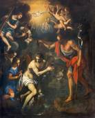 PADUA, ITALY - SEPTEMBER 8, 2014: The pain of The Baptism of Christ scene in church San Benedetto vecchio (Saint Benedict) from 16th century by unknown painter. — Zdjęcie stockowe