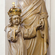 BRUGES, BELGIUM - JUNE 13, 2014: The carved statue of st. Joseph with the crown in Karmelietenkerk (Carmelites church) — Stock Photo #54243199