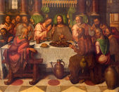 BRUGGE, BELGIUM - JUNE 13, 2014: The Last supper of Christ by Anthuensis Clakissins in st. Giles (Sint Gilliskerk). — Foto Stock