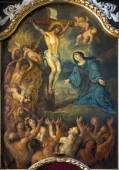 BRUGES, BELGIUM - JUNE 12, 2014: The Crucifixion paint from side altar in st. Jacobs church (Jakobskerk). — Zdjęcie stockowe