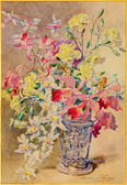 SAINT ANTON, SLOVAKIA - FEBRUARY 26, 2014: The aquarelle of the bouqet of roses by Madeleine Lemaire from begin of 20. cent. in palace Saint Anton — Stock Photo