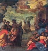 PADUA, ITALY - SEPTEMBER 9, 2014: Pain of scene as prophet Elijah  ascend to heaven in a chariot cf fire and Elisha with the his coat in church Basilica del Carmine from 17. cent by unknown painter. — Stock Photo