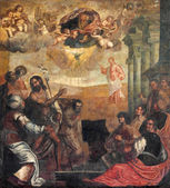 """PADUA, ITALY - SEPTEMBER 9, 2014: The """"ecce agnus dei"""" (St. John the Baptist shows to Christ as the Redeemer). Painting in church Basilica del Carmine by unknown painter from 17. cent. — Stock Photo"""