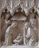 Mechelen, belgia - 14 czerwca 2014: neogotic rzeźbiarskie gorup narodzenia kościół st katharine lub katharinakerk. — Zdjęcie stockowe
