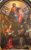BERGAMO, ITALY - JANUARY 26, 2014: The Immaculate conception with the saints by Cristoforo Allori from 17. cent.in the church Chiesa di San Pancrazio. — Stock Photo