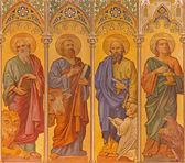 TRNAVA, SLOVAKIA - OCTOBER 14, 2014: The neo-gothic fresco of four  evangelists (Mark,Luke,Matthew,John) by Leopold Bruckner (1905 - 1906) in Saint Nicholas church. — Stock Photo