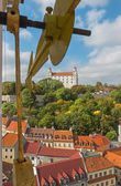 Bratislava - outlook form st. Martins cathedral to the castle and hands of tower-clock — Stock Photo