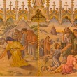 ������, ������: TRNAVA SLOVAKIA OCTOBER 14 2014: The neo gothic fresco of scene as Israelites at gathering of manna and as Moses made a bronze snake by Leopold Bruckner 1905 1906 in Saint Nicholas church