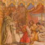 ������, ������: TRNAVA SLOVAKIA OCTOBER 14 2014: The neo gothic fresco of fhe scene Moses benedicite of Aron by Leopold Bruckner 1905 1906 in Saint Nicholas church
