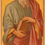 ������, ������: TRNAVA SLOVAKIA OCTOBER 14 2014: The neo gothic fresco of st Mark the evangelist by Leopold Bruckner 1905 1906 in Saint Nicholas church