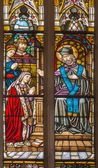 TRNAVA, SLOVAKIA - OCTOBER 14, 2014: The st. John the Nepomuk and the on windowpane form 19. cent. in St. Nicholas church. — Stock Photo