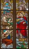 TRNAVA, SLOVAKIA - OCTOBER 14, 2014: The holy queen st. Elizabeth from Hungary on windowpane form 19. cent. in St. Nicholas church. — Stock Photo