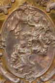 TRNAVA, SLOVAKIA - OCTOBER 14, 2014: The metal relief of the Annunciation on the altar in Virgin Mary chapel designed by A. Huetter (1739 - 1741) in St. Nicholas church. — Stock Photo
