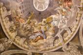 TRNAVA, SLOVAKIA - OCTOBER 14, 2014: The baroque fresco of the Coronation of Virgin Mary by A. Hess in Saint Nicholas church and Virgin Mary side chapel. — Stock Photo