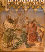 TRNAVA, SLOVAKIA - OCTOBER 14, 2014: The neo-gothic fresco of fhe scene as Moses at Lords Passover and offer of the firstborns by Leopold Bruckner (1905 - 1906) in Saint Nicholas church. — Stock Photo