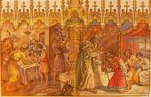TRNAVA, SLOVAKIA - OCTOBER 14, 2014: The fresco of the scenes Moses and Aron, and Israelites at the Pesach supper at the Lord's Passover by Leopold Bruckner (1905 - 1906) in St. Nicholas church. — Stock Photo