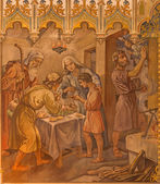TRNAVA, SLOVAKIA - OCTOBER 14, 2014: The neo-gothic fresco of fhe scene as Israelites at the Pesach supper at the Lords Passover by Leopold Bruckner (1905 - 1906) in Saint Nicholas church. — Stock Photo