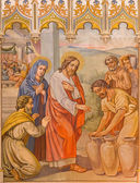 TRNAVA, SLOVAKIA - OCTOBER 14, 2014: The neo-gothic fresco of fhe scene Jesus by miracle in Cana  by Leopold Bruckner (1905 - 1906) in Saint Nicholas church. — Stock Photo