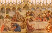TRNAVA, SLOVAKIA - OCTOBER 14, 2014: The neo-gothic fresco of fhe Last supper and Jesus and sinful woman by Leopold Bruckner (1905 - 1906) in Saint Nicholas church. — Stock Photo