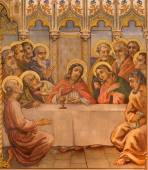 TRNAVA, SLOVAKIA - OCTOBER 14, 2014: The neo-gothic fresco of fhe Last supper by Leopold Bruckner (1905 - 1906) in Saint Nicholas church. — Stock Photo