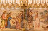 TRNAVA, SLOVAKIA - OCTOBER 14, 2014: The neo-gothic fresco of fhe scene Baptism of Christ and the Apostles at confirmation by Leopold Bruckner (1905 - 1906) in Saint Nicholas church. — Stock Photo