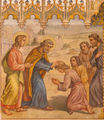 TRNAVA, SLOVAKIA - OCTOBER 14, 2014: The neo-gothic fresco of fhe scene the Apostles at confirmation by Leopold Bruckner (1905 - 1906) in Saint Nicholas church. — Stock Photo