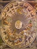 TRNAVA, SLOVAKIA - OCTOBER 14, 2014: The baroque fresco in cupola with the Coronation of Virgin Mary by A. Hess as the central motive in Saint Nicholas church and Virgin Mary side chapel. — Stock Photo