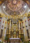 TRNAVA, SLOVAKIA - OCTOBER 14, 2014: The fresco in cupola with the Coronation of Virgin Mary by A. Hess as the central motive in St. Nicholas church and Virgin Mary chapel designed by A. Huetter. — Stock fotografie