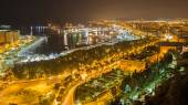 Malaga - nightly otutlook over the town and harbor. — Stock Photo
