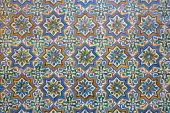 SEVILLE, SPAIN - OCTOBER 28, 2014: The detail of tiles in mudejar style in courtyard of Casa de Pilatos. — Stock Photo