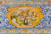 SEVILLE, SPAIN - OCTOBER 28, 2014: The Cvenca as one of The tiled 'Province Alcoves' along the walls of the Plaza de Espana (1920s) by Domingo Prida. — Stock Photo