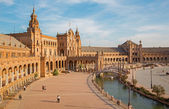 SEVILLE, SPAIN - OCTOBER 27, 2014:  Plaza de Espana square designed byAnibal Gonzales (1920s) in Art Deco and Neo-Mudejar style. — Stock Photo