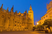 Seville - Cathedral de Santa Maria de la Sede with the Giralda bell tower in evening dusk. — Stock Photo