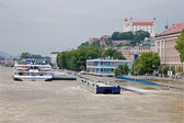 BRATISLAVA - JUNE 5:  Danube waterfront in the city at high floo — Stock Photo