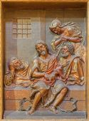 SEVILLE, SPAIN - OCTOBER 29, 2014: The carved polychrome relief of St. John the Baptist in prison from church Iglesia de la Anunciacion by Martinez Montanes from 18. cent. — Stock Photo