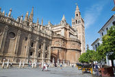 SEVILLE, SPAIN - OCTOBER 28, 2014: Cathedral de Santa Maria de la Sede with the Giralda bell tower. — Stockfoto
