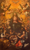 SEVILLE, SPAIN - OCTOBER 28, 2014: The paint Coronation of Virgin Mary in Church of El Salvador (Iglesia del Salvador) by unknown painter from Seville first half of 17. cent. — Stock Photo