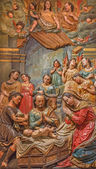 SEVILLE, SPAIN - OCTOBER 28, 2014: The baroque polychrome relief of the Adoration of shepherds in Church of El Salvador (Iglesia del Salvador) by by Juan de Oviedo (1609 - 16012). — Stock Photo