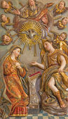 SEVILLE, SPAIN - OCTOBER 28, 2014: The baroque polychrome relief of Annunciation in Church of El Salvador (Iglesia del Salvador) by unknown artist of 18. cent. from sponsor Pedro Duque Cornejo. — ストック写真