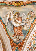 SEVILLE, SPAIN - OCTOBER 28, 2014: The baroque fresco of angel with the vestment in church Hospital de los Venerables Sacerdotes  by Juan de Valdes Leal (1622 - 1690). — Stock Photo