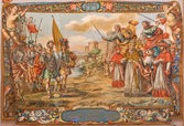SEVILLE, SPAIN - OCTOBER 28, 2014: Fresco of scene the Act of barbarian king Atilla with pope st. Leo the great before of Rome walls in church Hospital de los Venerables by Valdez Leal (1622 - 1690) — Stockfoto