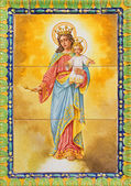 SEVILLE, SPAIN - OCTOBER 29, 2014:  The ceramic tiled Madonna in the church Basilica del Maria Auxiliadora by A. Morilla from 20. cent. in manufactory Ceramica Santa Ana de Triana. — Stock Photo