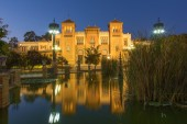 Seville - The Museum of Popular Arts and traditions (Museum of Artes y Costumbres Populares) at dusk. — Stock Photo