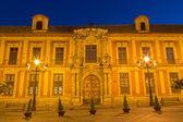 Seville - Plaza del Triumfo and Palacio arzobispal (archiepiscopal palace) at dusk on the Plaza del Triumfo. — Stock Photo