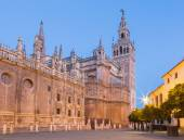 Seville - Cathedral de Santa Maria de la Sede with the Giralda bell tower in morning dusk. — Foto Stock