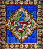 BOLOGNA, ITALY - MARCH 16, 2014: The symbolic dragon from heraldry on windowpane of church San Giovanni in Monte. — Stock Photo