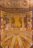 BOLOGNA, ITALY - MARCH 17, 2014: The ceiling fresco in chapel of the sacristy in baroque church San Michele in Bosco with the Old Testaments scenes. — Stok fotoğraf