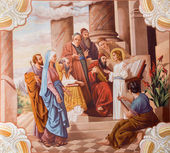 SEBECHLEBY - AUGUS 8: Little Jesus teaching in the temple. Fresc — Stock Photo