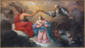 BRUGES, BELGIUM - JUNE 12, 2014: The Coronation of Virgin Mary paint by J. Garemijn (1750) as the part of 14 paintings of the mysteries of Rosary in Saint Walburga church. — Stock Photo